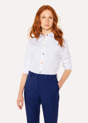 Paul Smith Women's Slim-Fit White Cotton Shirt With 'Swirl' Cuff Lining