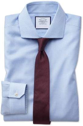 Charles Tyrwhitt Super Slim Fit Non-Iron Spread Collar Sky Blue Puppytooth Oxford Stretch Cotton Dress Shirt Single Cuff Size 15.5/33