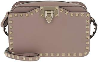Valentino Rockstud Crossbody Camera Bag Leather Poudre