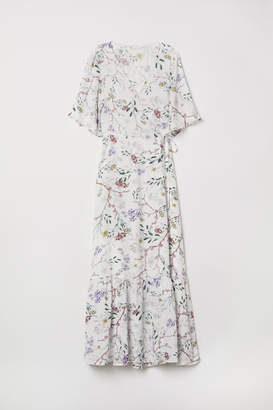 H&M Patterned Wrap-front Dress - White