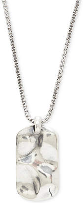 Degs & Sal Men Hammered Dog Tag Pendant Necklace in Sterling Silver