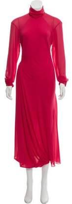 Victoria Beckham Mock Neck Maxi Dress Red Mock Neck Maxi Dress