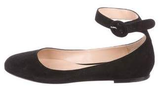 Gianvito Rossi Suede Ankle-Strap Flats