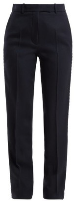 Calvin Klein Side Stripe Straight Leg Wool Trousers - Womens - Navy