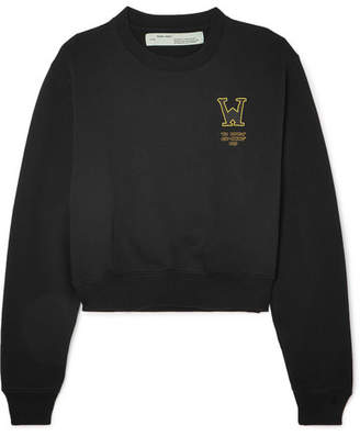Off-White Cropped Printed Cotton-terry Sweatshirt - Black