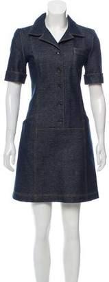 Tomas Maier Short Sleeve Denim Mini Dress