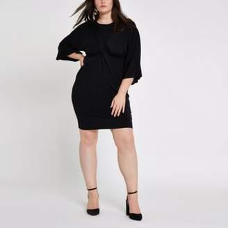 River Island Plus black long sleeve knot front dress