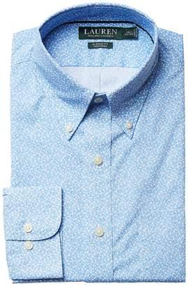 Lauren Ralph Lauren Classic Fit Non Iron Poplin Floral Print Button Down Collar Dress Shirt Men's Long Sleeve Button Up