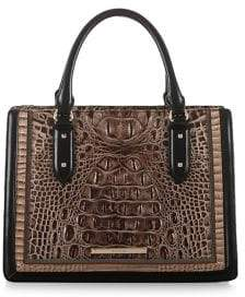 Brahmin Small Camille Crocodile-Embossed Leather Satchel