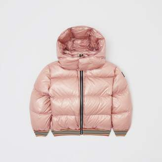 Burberry Childrens Icon Stripe Detail Hooded Puffer Jacket