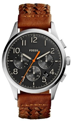Men's Fossil Vintage 54 Chronograph Leather Strap Watch, 42Mm $145 thestylecure.com