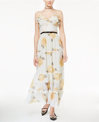 Disney Beauty and the Beast Juniors' Printed Ruffled Maxi Dress $69 thestylecure.com