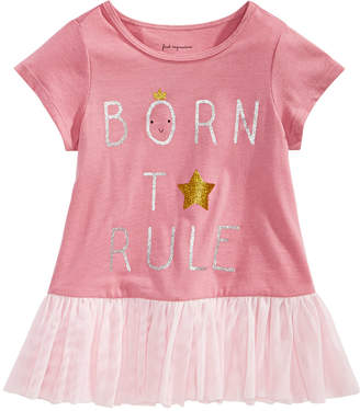 First Impressions Baby Girls Rule-Print Cotton Peplum Top