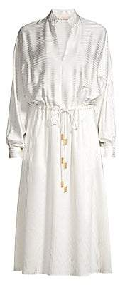 Tory Burch Women's Illusion Stripe Drawstring Silk-Blend A-Line Shirtdress