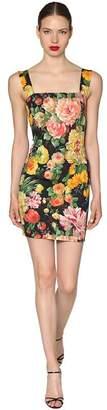 Dolce & Gabbana Floral Printed Stretch Cady Mini Dress