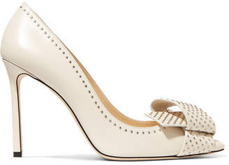 Jimmy Choo Tegan 100 Embellished Leather Pumps - Off-white