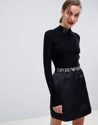 Emporio Armani Ribbed Mini Dress with Branded Taping