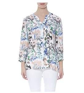 Jump 3/4 Sleeve Pintuck Floral Shirt