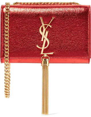 Saint Laurent - Monogramme Kate Small Metallic Textured-leather Shoulder Bag - one size $1,990 thestylecure.com