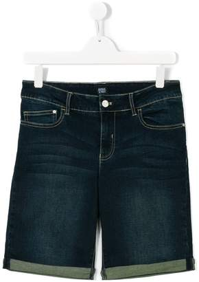 Emporio Armani Kids Teen stitched detailing denim shorts