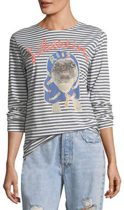 Libertine Striped Pug Printed Long-Sleeve T-Shirt