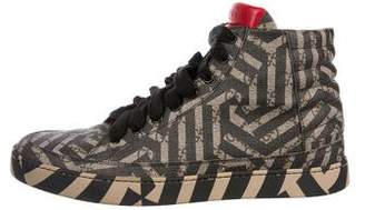 Gucci GG Supreme Zebra Print High-Top Sneakers
