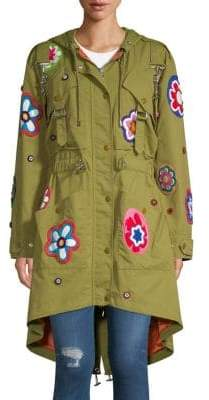 Moschino Floral Patch Parka