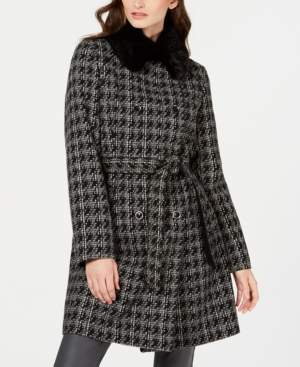 Via Spiga Houndstooth Belted Faux-Fur-Collar Coat