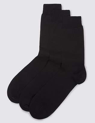 Marks and Spencer 3 Pairs of Pure Cotton Luxury Mercerised Socks