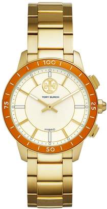 Tory Burch TORYTRACK HYBRID SMARTWATCH, GOLD-TONE STAINLESS STEEL/IVORY, 38MM