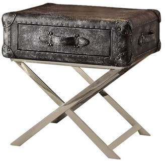 Benzara End Table Vintage Black Top Grain Leather