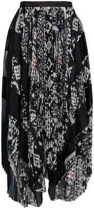 Sacai asymmetric patterned skirt