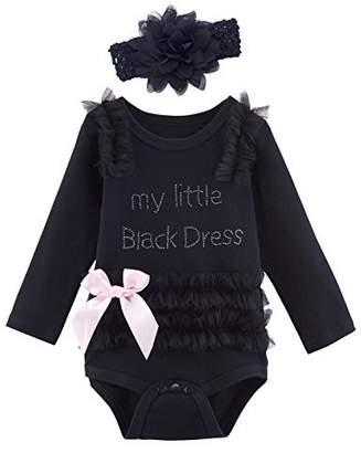 Mombebe Baby Girls' My Little Dress Bodysuit with Headband (6-12 Months, )