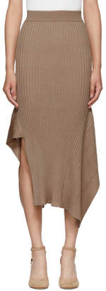 Stella McCartney Tan Rib Knit Asymmetric Flared Skirt