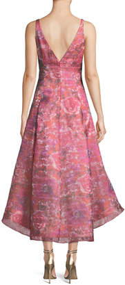 Aidan Mattox Sleeveless Floral Dress w/ High-Low Skirt