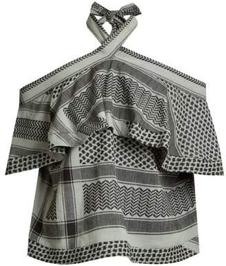 Cecilie Copenhagen - Topanga Scarf Jacquard Cotton Top - Womens - Khaki Multi