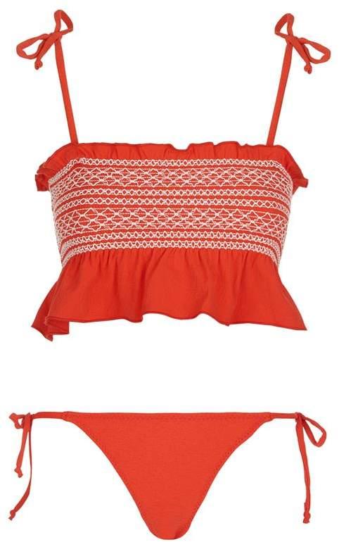 Selena Smocked Crepe Bikini