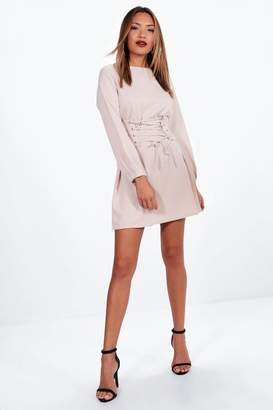 boohoo Lace Up Waist Corset Shift Dress