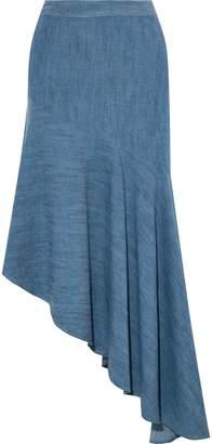Alice + Olivia (アリス オリビア) - Alice + Olivia アシンメトリー ラッフル付き シャンブレー スカート
