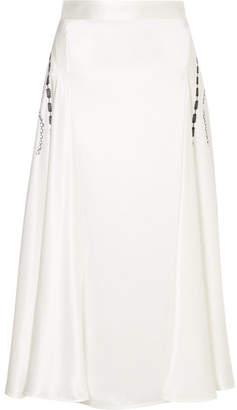 Victoria Beckham Printed Silk-satin Midi Skirt - White