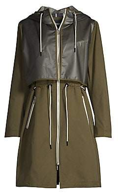 Jane Post Women's Hooded Patchwork Raincoat