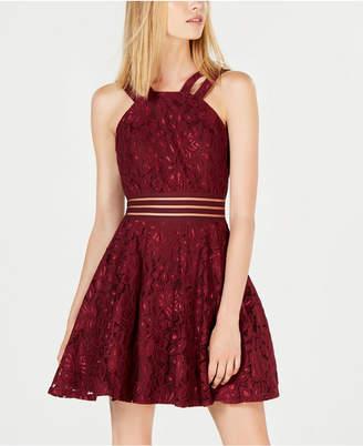 City Studios Juniors' Lace Illusion Fit & Flare Dress