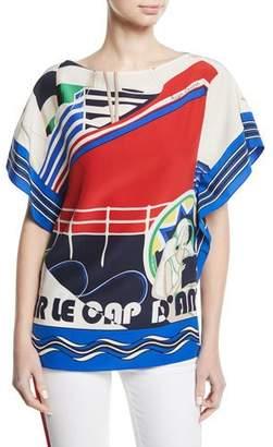 Ralph Lauren Corinna Cap d'Antibes Short-Sleeve Silk Top