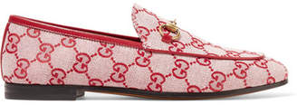 Gucci Jordaan Horsebit-detailed Leather-trimmed Logo-printed Canvas Loafers - Red