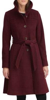 Karl Lagerfeld Paris THE COAT EDIT Belted Wool-Blend A-Line Coat
