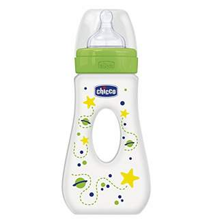 Chicco Wellbeing Strolling Baby Bottle, Fast Flow Silicone 240 ml green