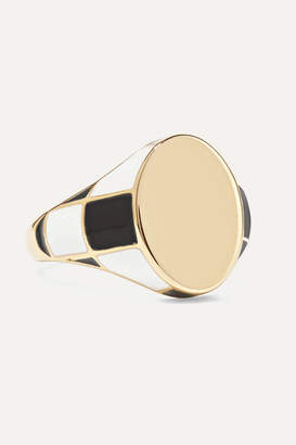 Alison Lou Checker 14-karat Gold And Enamel Ring