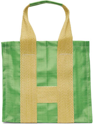 Comme des Garcons Green and Yellow Large Poly Tote
