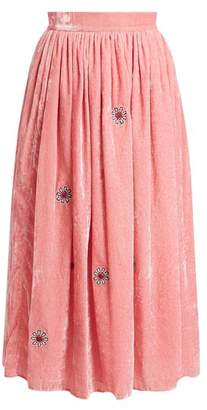 Jupe By Jackie - Strock Floral Embroidered Silk Velvet Skirt - Womens - Pink
