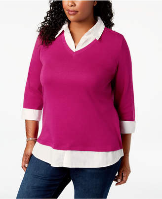 Karen Scott Plus Size Cotton Layered-Look Top